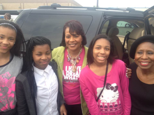 Harper-Archer middle School students were excited to meet Rev. Dr. Bernice King (center) while in Selma; Sherry Williams (far right)