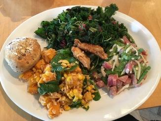 Pink Beets w/wabashi sauce, yellow squash & tuna, kale w/fruit & multi grain